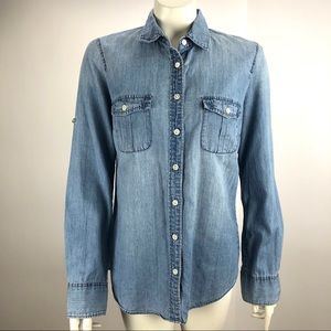 J Crew Button Tab Sleeve Chambray Blouse Size 4
